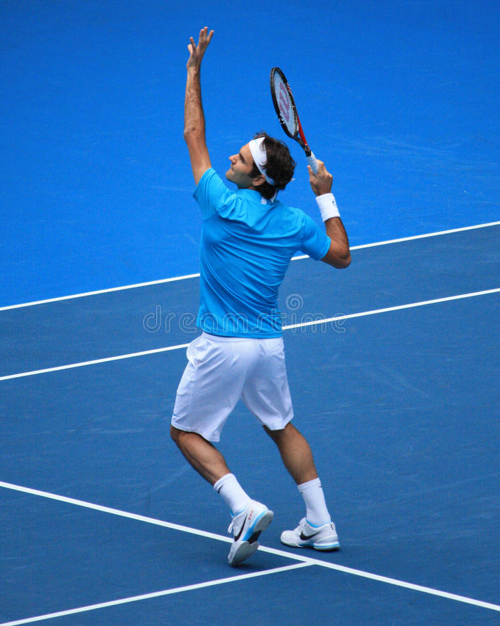 Roger Federer à l'australien ouvrent 2010 photographie stock