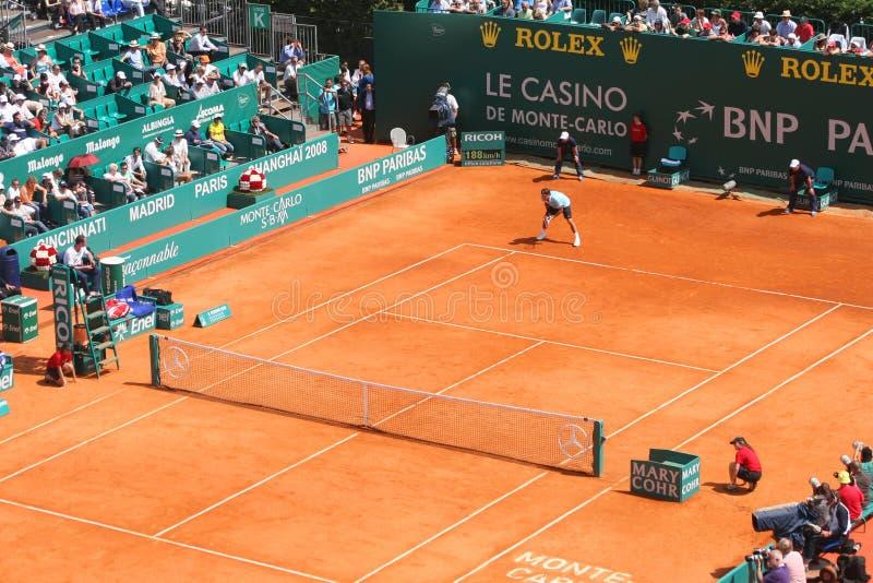 Roger Federer à Monte Carlo maîtrise la série photographie stock