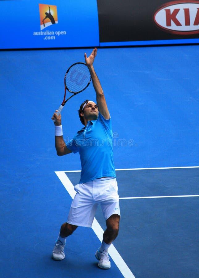 Roger Federer am australischen öffnen 2010 lizenzfreies stockbild