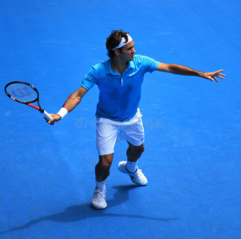 Roger Federer am australischen öffnen 2010 lizenzfreie stockfotografie