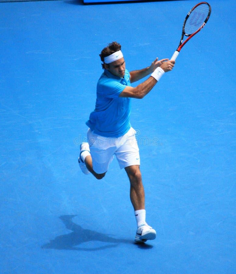 Roger Federer am australischen öffnen 2010 stockbild