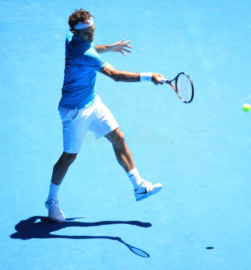 Roger Federer bij Australische Open 2010 stock foto's