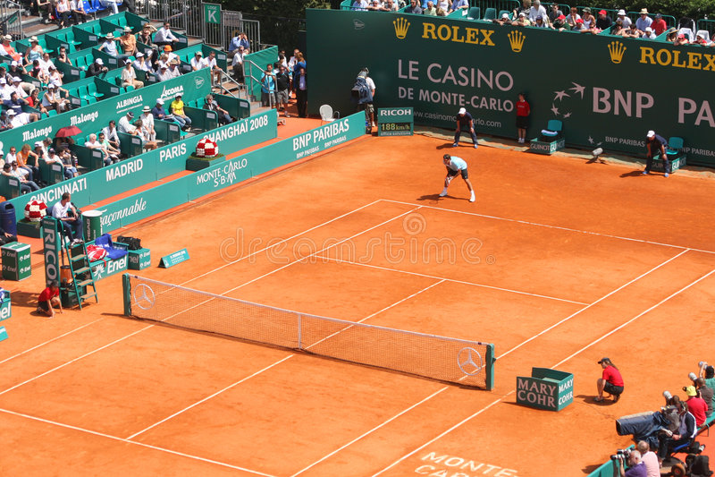 Roger Federer bij de Reeks van de Meesters van Monte Carlo stock fotografie