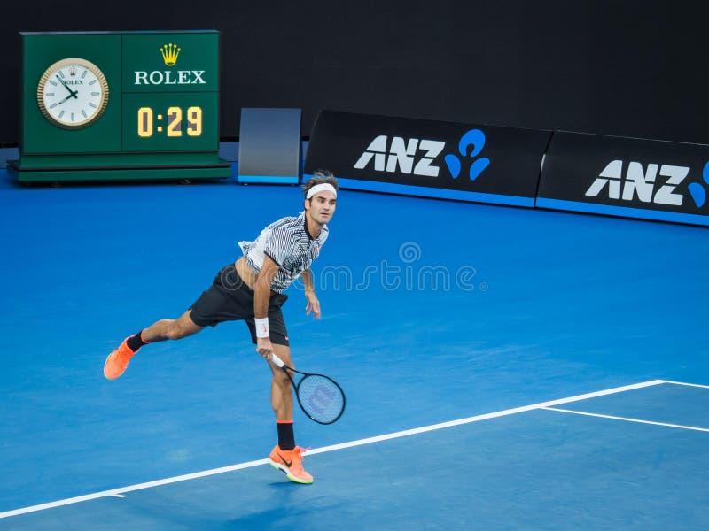 Roger Federer bij het Australian Open 2017 Tennistoernooien royalty-vrije stock foto