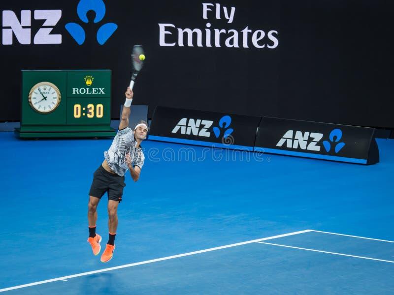 Roger Federer bij het Australian Open 2017 Tennistoernooien royalty-vrije stock foto's