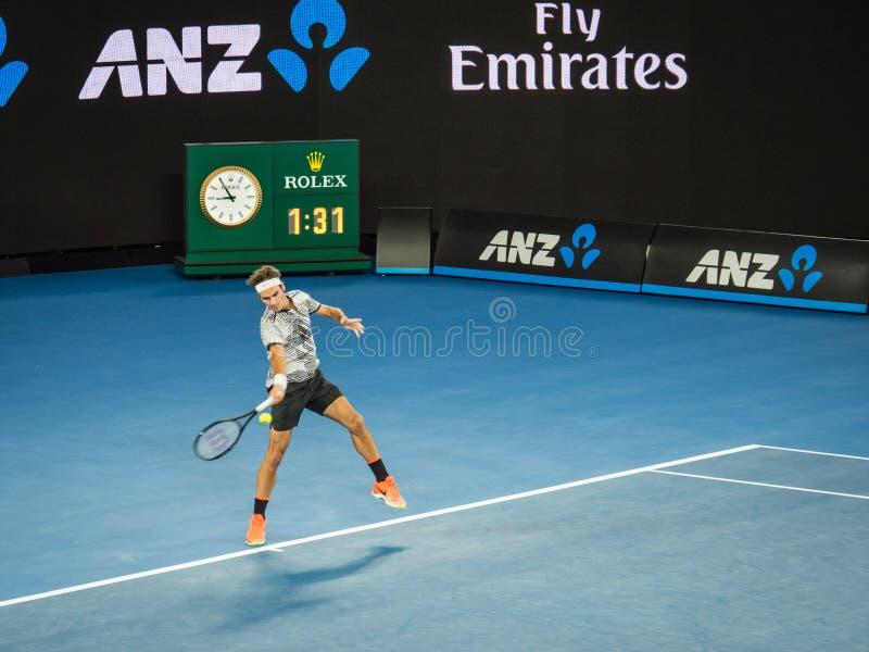 Roger Federer bij het Australian Open 2017 Tennistoernooien stock foto