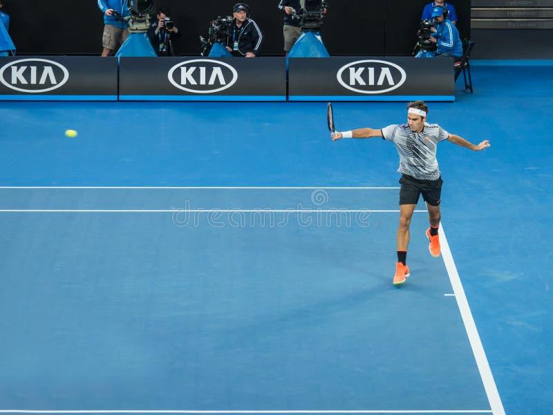 Roger Federer bij het Australian Open 2017 Tennistoernooien royalty-vrije stock fotografie