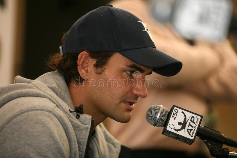 Roger Federer bij persconferentie Doha royalty-vrije stock foto's
