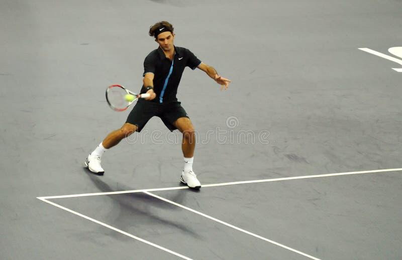 Roger Federer de Suiza en acciones imagen de archivo libre de regalías