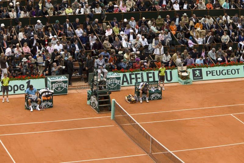 Roger Federer de Switzerland e de pisco de peito vermelho Soderling fotografia de stock royalty free