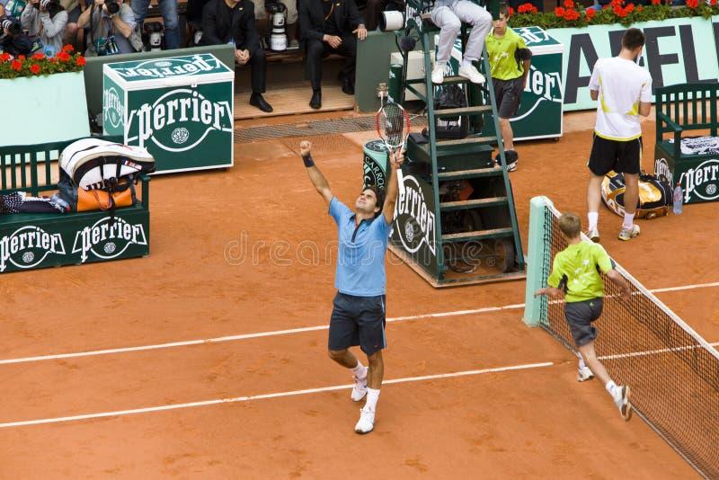 Roger Federer de Switzerland exulta para ganhar em foto de stock royalty free