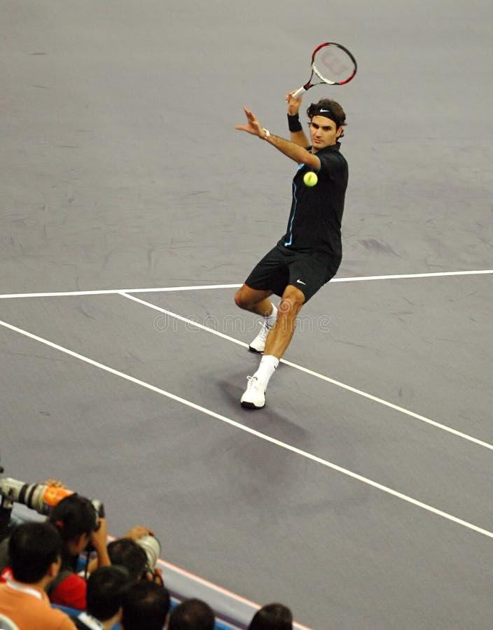 Roger Federer della Svizzera nelle azioni immagine stock libera da diritti