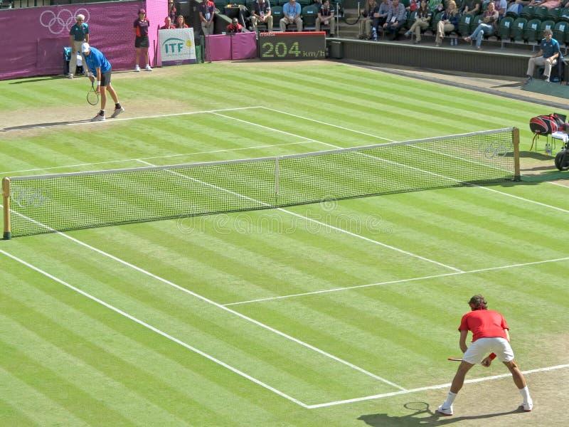 Roger Federer e John Isner fotografia de stock royalty free