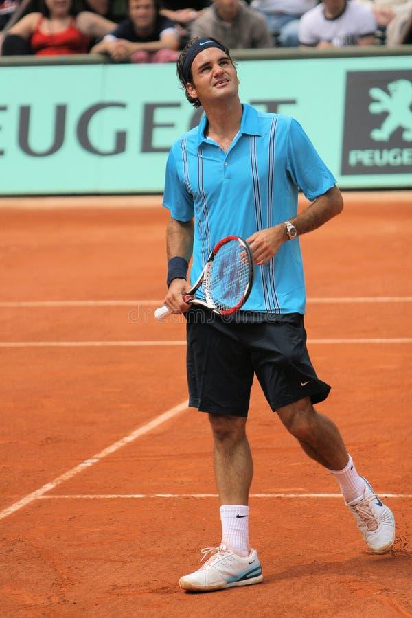 Roger Federer en Roland Garros fotografía de archivo libre de regalías