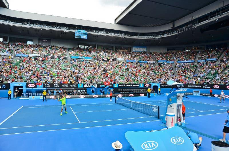 Roger Federer jouant dans Rod Laver Area images libres de droits