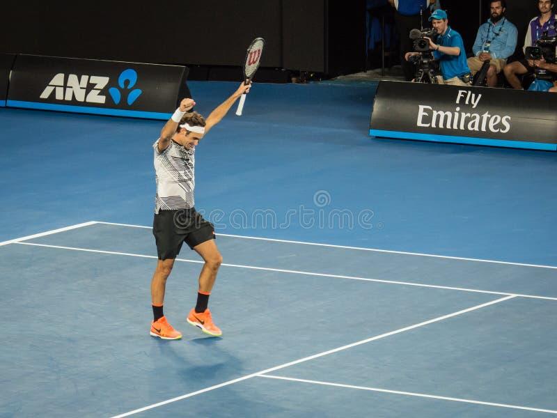 Roger Federer no australiano abre o competiam 2017 de tênis fotos de stock