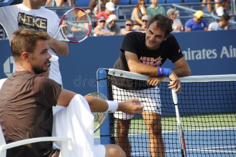 Roger Federer and Stanislas Wawrinka royalty free stock image