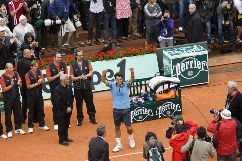 Download Roger Federer Of Switzerland Rejoices To Win At Editorial Stock Image - Image: 10429259