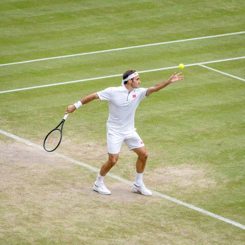 Roger Federerl på Wimbledon arkivfoton