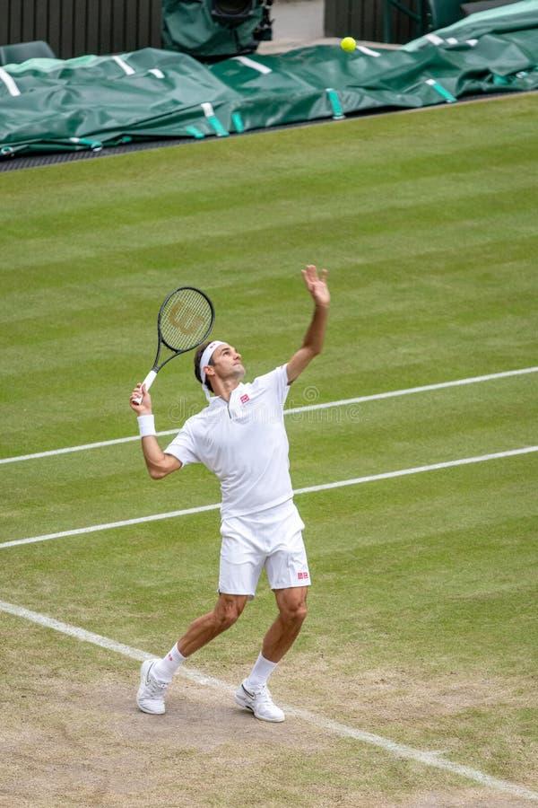 Roger Federerl på Wimbledon royaltyfri bild
