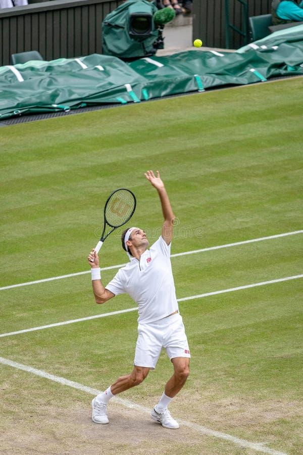 Roger Federerl på Wimbledon arkivbilder