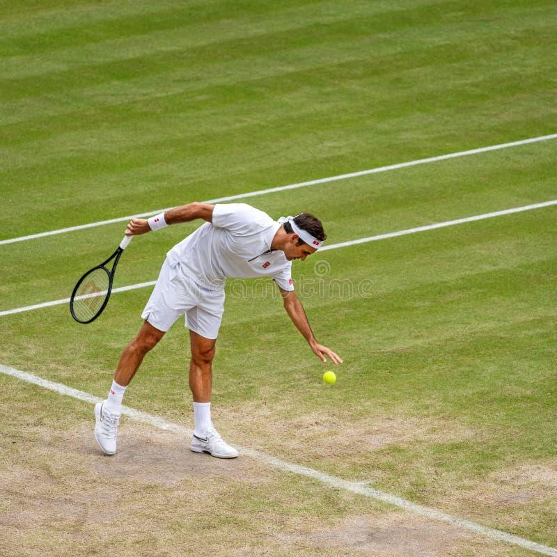 Roger Federerl på Wimbledon royaltyfri foto