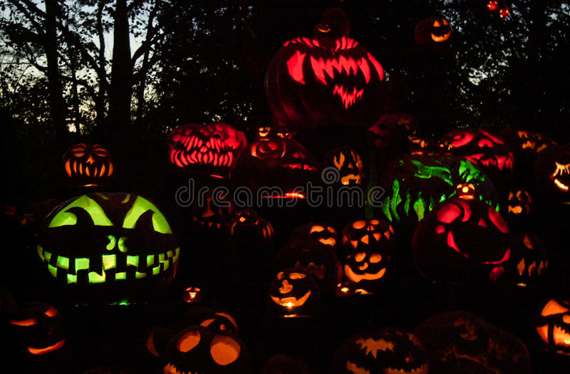 Roger Williams Zoo Halloween Spooktacular. The pumpkins are carved and lit, as visitors arrive for the annual Halloween Spooktacular held at the Roger Williams stock photos