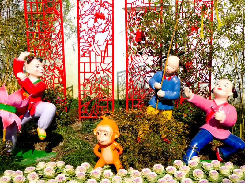 Rogers Chinese Lantern Festival Character-modellering stock afbeelding