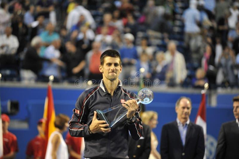 Rogers Filiżanka Djokovic zwycięzca 2012 ((0)) obrazy royalty free