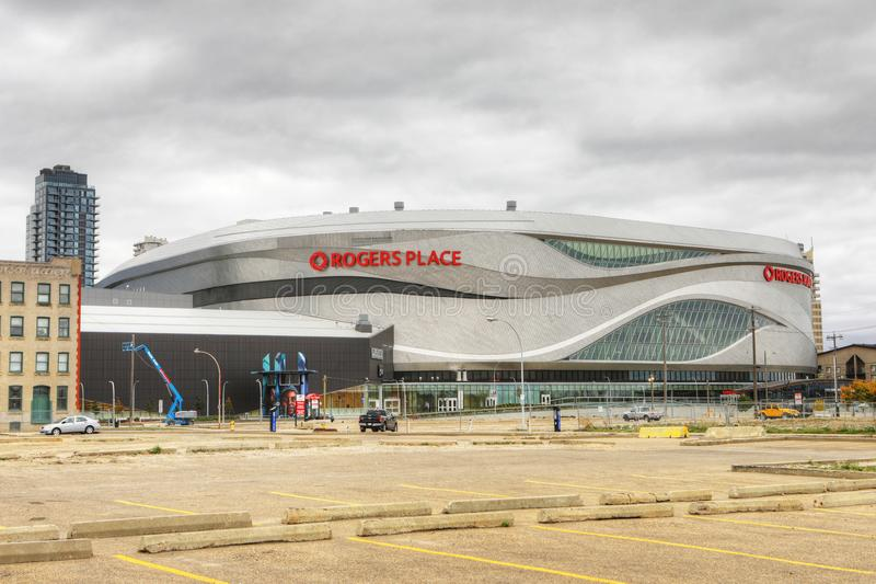 Rogers Place, home to NHL Edmonton Oilers. The Rogers Place, home to NHL Edmonton Oilers stock photo