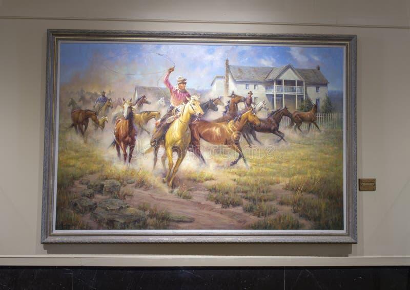 Rogers que pinta a caballo Claremore, Oklahoma imagen de archivo