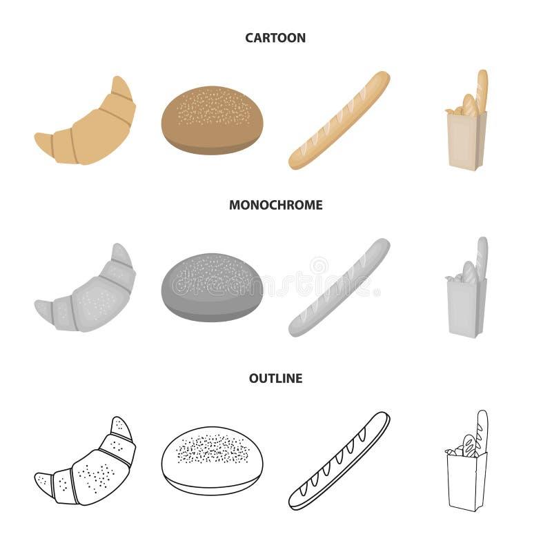 Rogge om brood, een croissant, een Frans brood, een zak brood Pictogrammen van de brood de vastgestelde inzameling in beeldverhaa stock illustratie