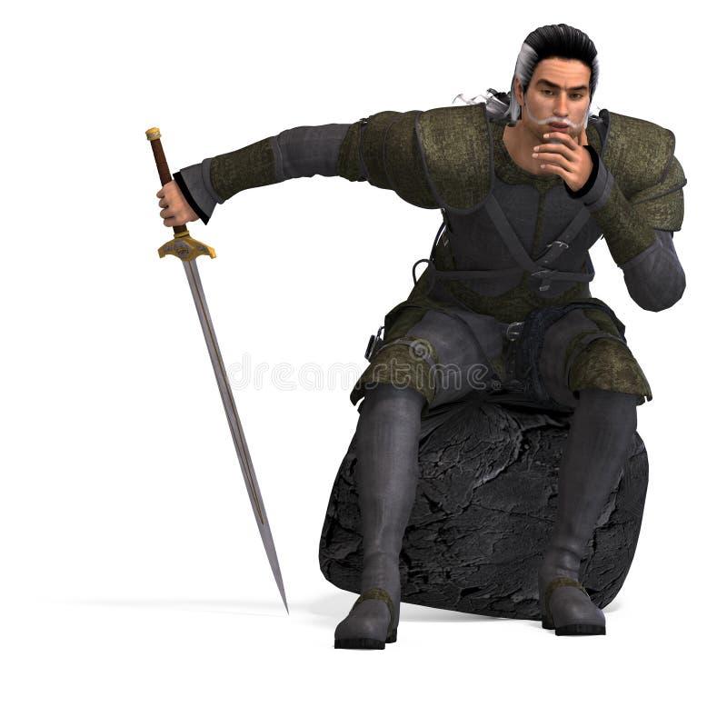 Rogue di fantasia con la spada illustrazione vettoriale