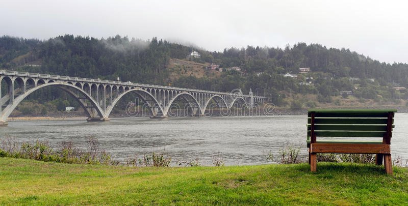 Rogue River Bridge Curry County Gold Beach Oregon Waterfront Ben stock photo