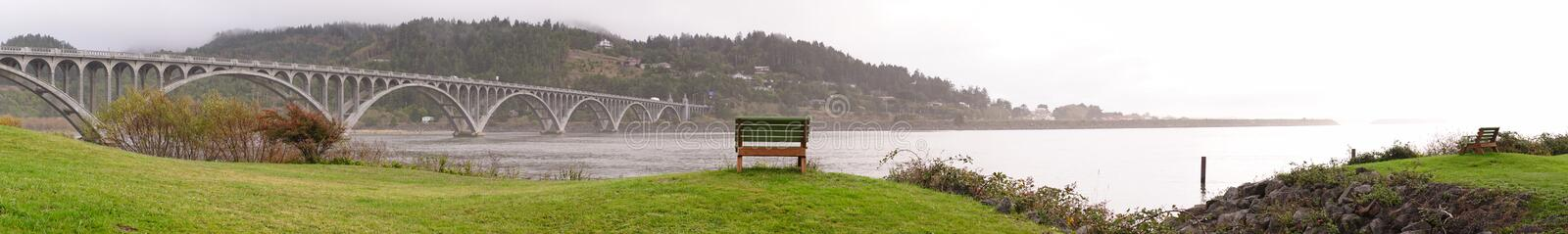 Rogue River Bridge Curry County Gold Beach Oregon Waterfront Bench stock images