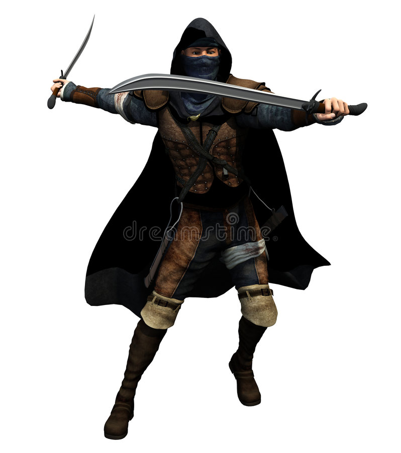 Rogue With Two Swords Royalty Free Stock Photography