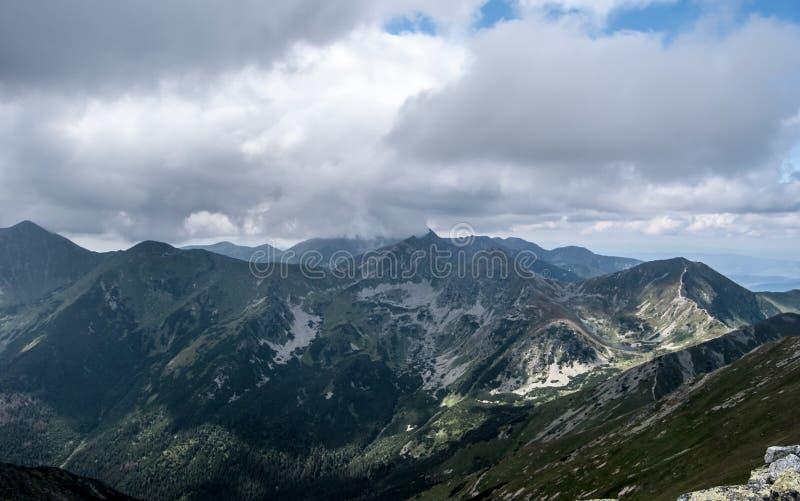 View from Jakubina peak on Otrhance mountain ridge in Western Tatras mountains in Slovakia royalty free stock photos