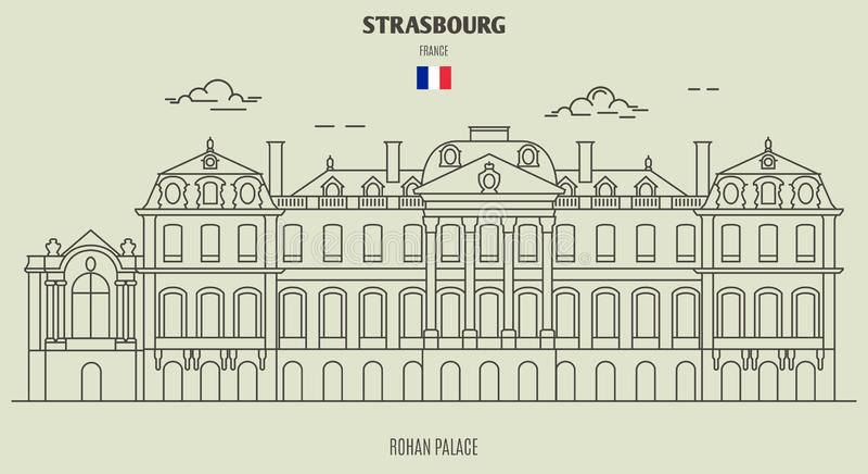 Rohan Palace van Straatsburg, Frankrijk Oriëntatiepuntpictogram royalty-vrije illustratie