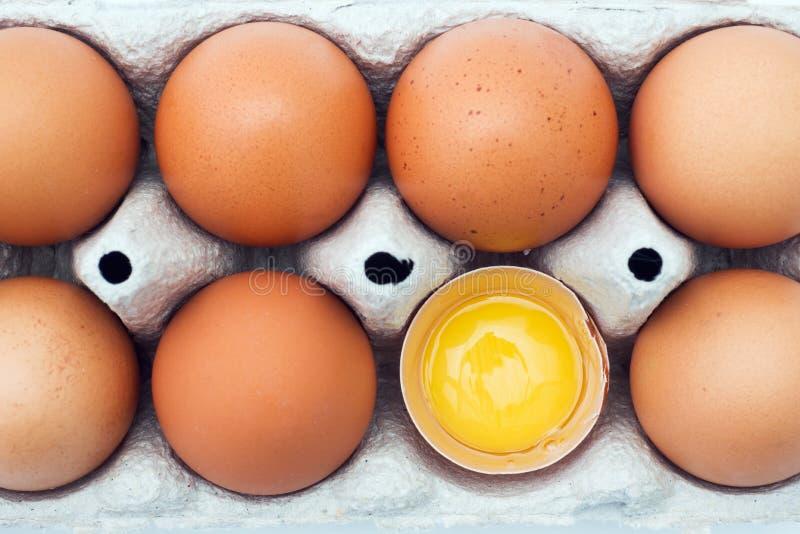 Rohe Eier Browns im ursprünglichen Verpacken Abschluss oben stockbilder