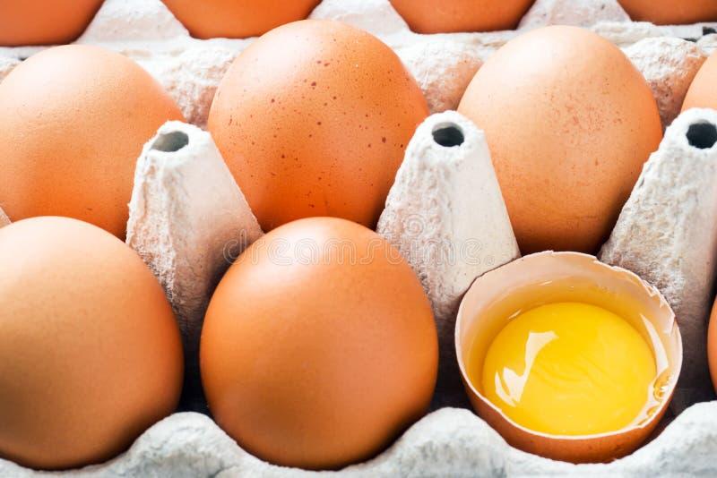 Rohe Eier Browns im ursprünglichen Verpacken Abschluss oben stockbild