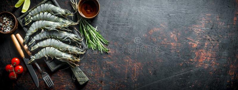 Rohe Garnelen ungekocht mit Tomaten und Rosmarin stockbild