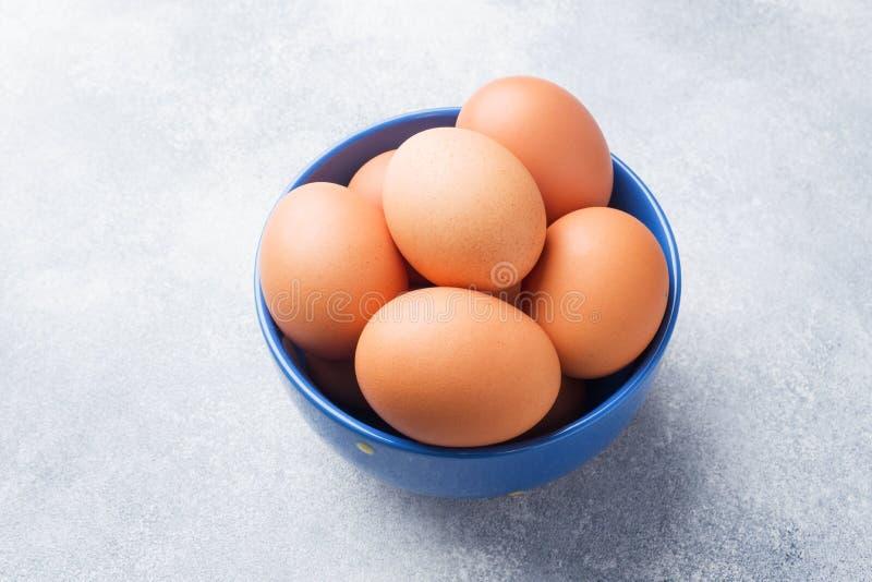 Rohe Hühnereien Browns in einer blauen Schüssel auf einem grauen Hintergrund lizenzfreies stockbild