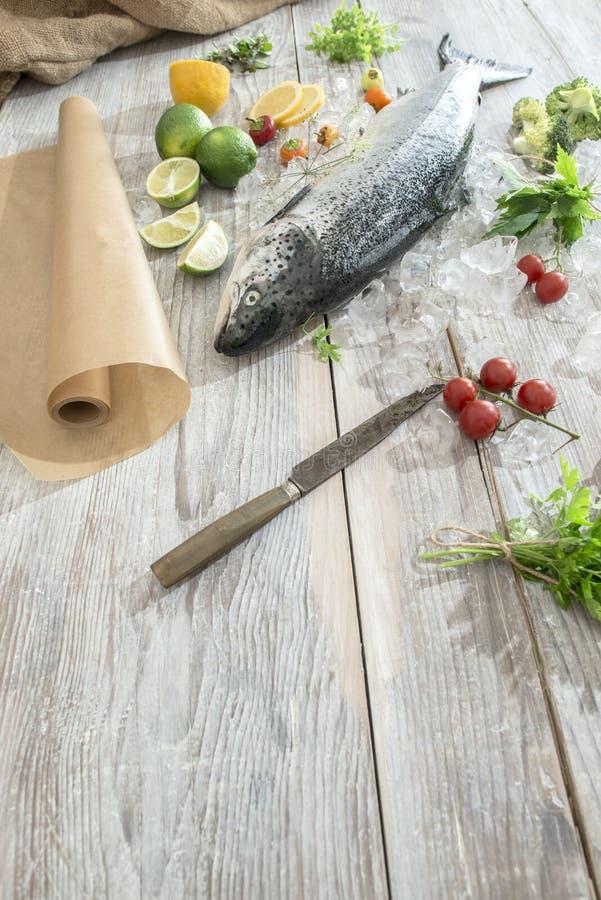 Rohe Lachsfische im Eis und im Gemüse lizenzfreies stockfoto