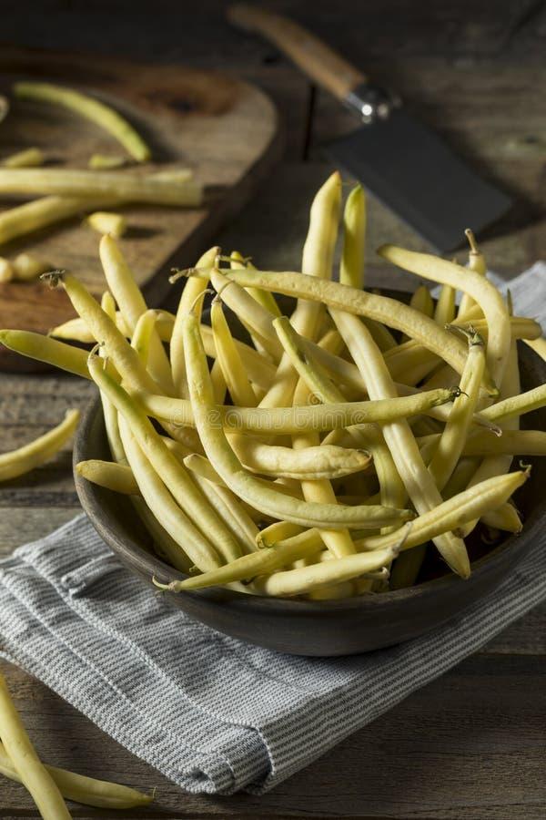 Rohe organische gelbe Wachs-Bohnen lizenzfreie stockbilder