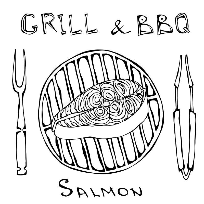 Roher Salmon Steak auf Grill-Grill mit Gabel und Zangen Sommer bbq Fisch-Schnitt-Scheibe für das Kochen, Feiertags-Mahlzeiten, Re lizenzfreie abbildung