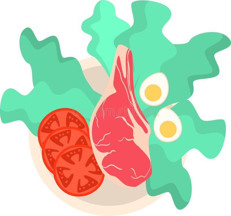 Rohes eco Fleisch auf Platte mit Hälfte des Eies und der Tomate lizenzfreie abbildung