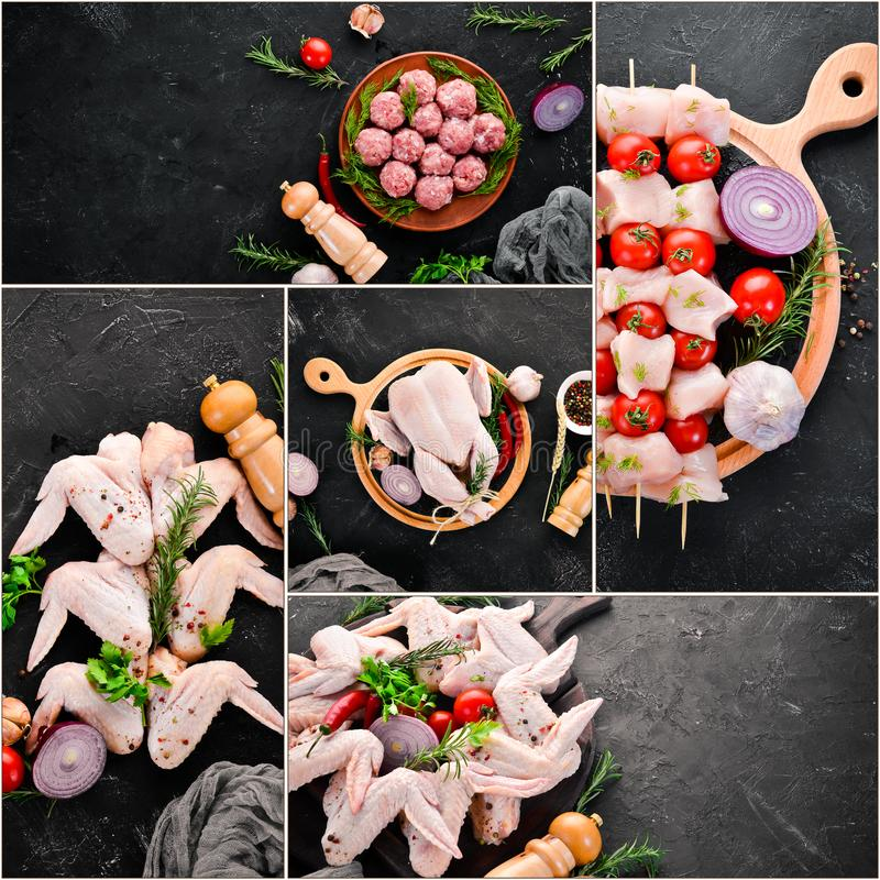 Rohes Huhn der Fotocollage und Hühnerfleisch stockbild