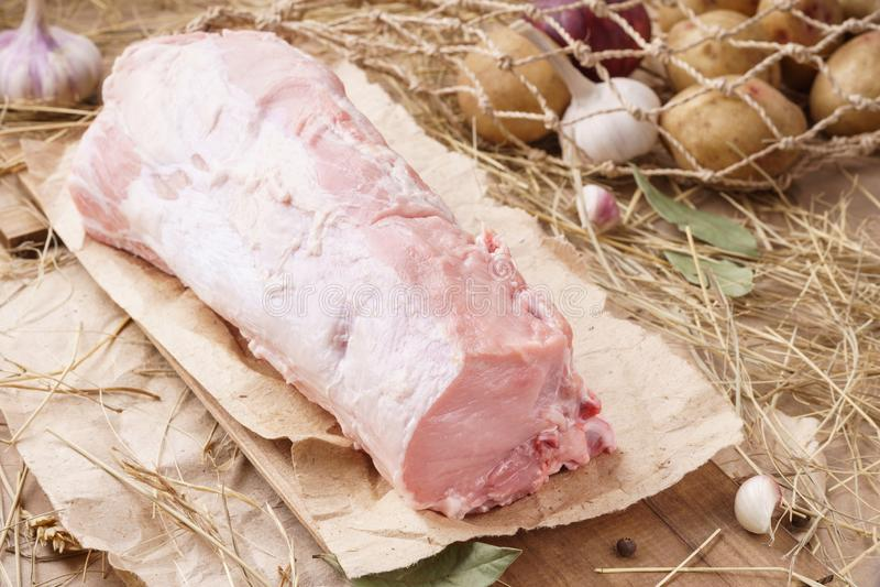 Rohes Schweinefleisch - carbonade Frisches organisches Fleisch und Bestandteile lizenzfreies stockbild