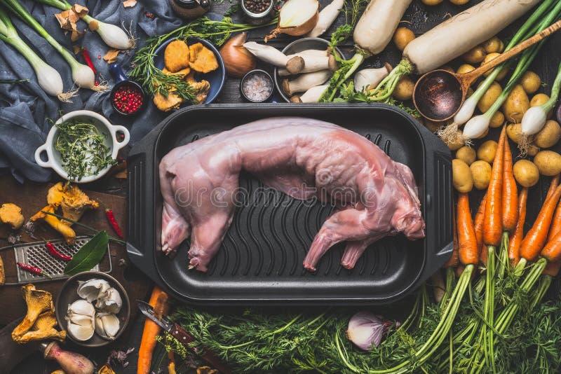 Rohes ungekochtes ganzes Kaninchen und verschiedene kochende Bestandteile für Eintopfgericht oder Ragout lizenzfreies stockfoto