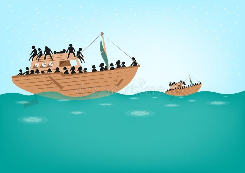 Rohingya flyktingar på fartygbegrepp stock illustrationer